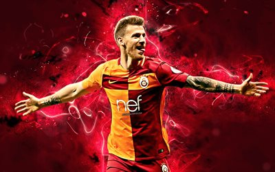 Serdar Aziz, goal, turkish footballers, joy, Galatasaray FC, soccer, Turkish Super Lig, centre back, Aziz, footaball, neon lights