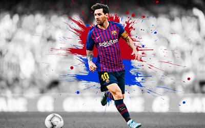 Lionel Messi, 4k, art, Barcelona FC, Argentine football player, striker, football star, blue maroon splashes of paint, grunge art, La Liga, Spain football, Messi