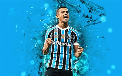 Cicero, joy, brazilian footballers, Gremio FC, abstract art, soccer, Cicero Santos, blue background, Brazilian Serie A, football, neon lights, Brazil