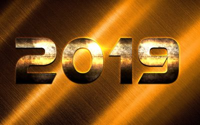 2019 year, golden digits, golden metal background, creative art, 2019 concepts, New Year