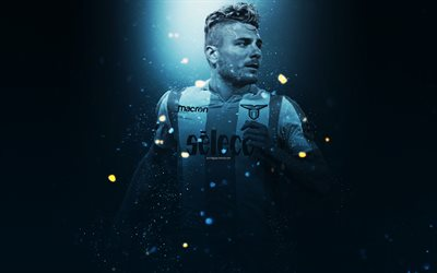 Ciro Immobile, 4k, creative art, Lazio FC, Italian footballer, lighting effects, striker, Serie A, Italy, football players