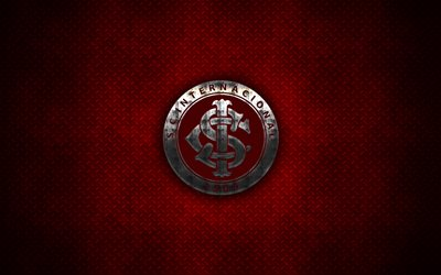 Sport Club Internacional, Inter RS, Internacional FC, 4k, metal logo, creative art, Brazilian football club, Serie A, emblem, red metal background, Porto Alegre, Brazil, football