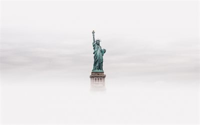 Statue of Liberty, New York, fog, clouds, american national symbol, New York landmark, USA