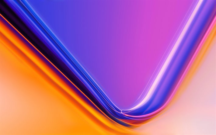 purple-orange waves background, bright background, abstraction, waves background