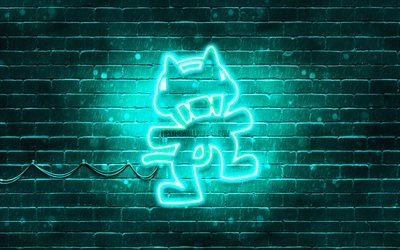 Monstercat turkuaz logo, 4k, superstars, turkuaz brickwall, Monstercat logo, sanat, müzik yıldızları, Monstercat neon logo, Monstercat