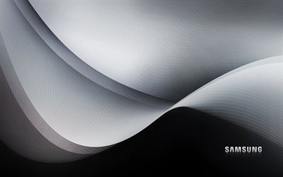 Samsung stock wallpaper, black waves background, Samsung, black lines background
