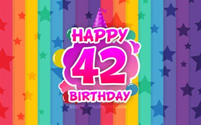 Happy 42nd birthday, colorful clouds, 4k, Birthday concept, rainbow background, Happy 42 Years Birthday, creative 3D letters, 42nd Birthday, Birthday Party, 42nd Birthday Party