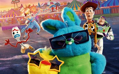 Toy Story 4, 4k, characters cast, poster, 2019 movie, 3D-animation, 2019 Toy Story 4