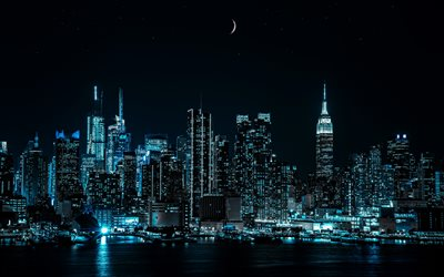 Empire State Building, 4k, nightscapes, Manhattan, modern buildings, american cities, NYC, skyscrapers, New York, USA, Cities of New York, New York at night, America