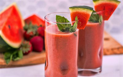 watermelon smoothies, 4k, berries, fruits, breakfast, smoothie in glassful, healthy food, smoothie glasses, watermelon, fruit smoothies, smoothies with watermelon