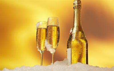 champagne, glasses and a bottle of champagne, snow, golden background, Happy New Year, champagne bottle