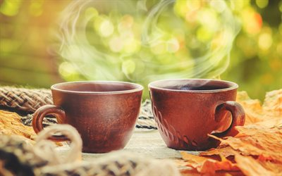 brown coffee cups, coffee, clay cups, coffee concepts, autumn, yellow leaves, mood concepts