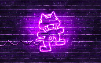 Monstercat mor logo, 4k, superstars, mor brickwall, Monstercat logo, sanat, müzik yıldızları, Monstercat neon logo, Monstercat