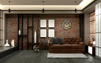 loft style interior, brown brick wall, brown leather sofa, old stylish clock on the wall, loft style living room