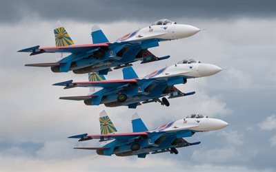 Su-27, Russian Air Force, fighters, Russian Knights