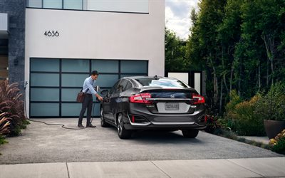 Honda Clarity, 2018, Plug-in Hybrid, new electric cars, rear view, electric car charging, Japanese cars, Honda