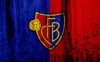 Download wallpapers FC Basel 4k logo stone texture