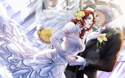 Final Fantasy XIV, Japanese anime, characters, couple