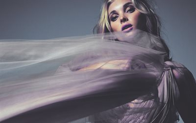 Elsa Hosk, photoshoot, 4k, Swedish top model, purple dress, make-up