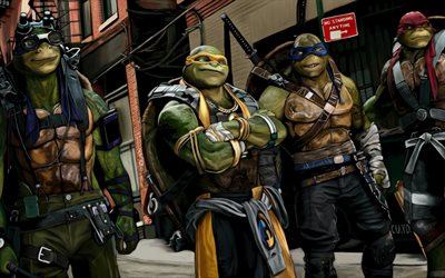 Teenage Mutant Ninja Turtles, los superhéroes, el arte, miguel ángel, Donatello, Raphael, TMNT