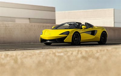 McLaren 570S Spider, 2018, yellow sports car, sports coupe, British cars, McLaren