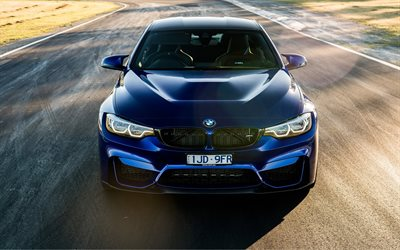 BMW M4 CS, 2018, sports coupe, blue M4, front view, German cars, BMW