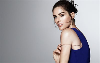 Hilary Rhoda, american model, portrait, blue dress, beautiful woman