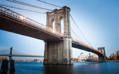 Brooklyn Bridge, New York, suspension bridge, East River, Brooklyn, Manhattan, landmark, New York cityscape, USA