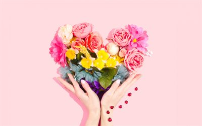 heart in hands, romance concepts, bouquet heart, bouquet of flowers, creative heart
