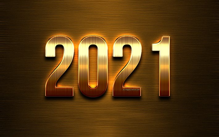2021 New Year, golden metal letters, Happy New Year 2021, Golden 2021 background, 2021 concepts