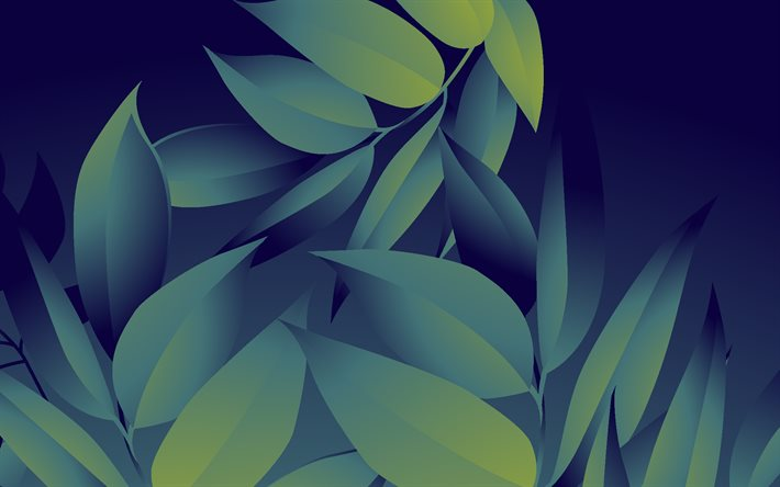 dark background with green leaves, nature background, floral background, ecology, leaves background