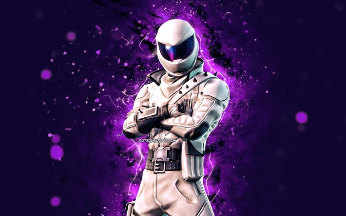 Overtaker, 4k, violet neon lights, 2020 games, Fortnite Battle Royale, Fortnite characters, Overtaker Skin, Fortnite, Overtaker Fortnite