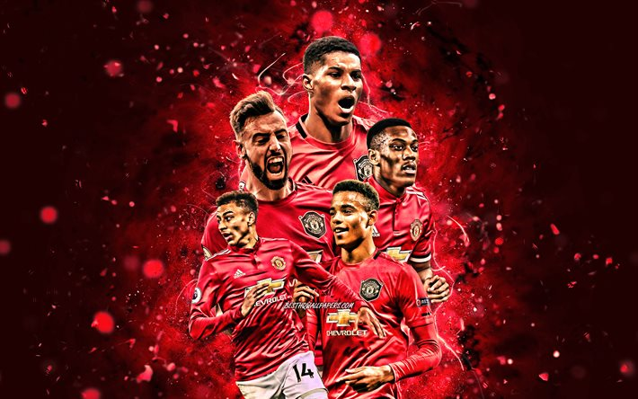 Marcus Rashford, Bruno Fernandes, Paul Pogba, Anthony Martial, Mason Greenwood, 4k, Manchester United FC, football stars, Premier League, Manchester United team, red neon lights, soccer, Man United