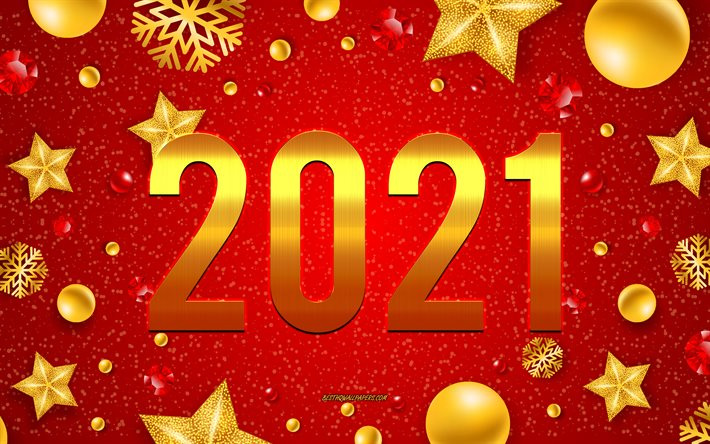 2021 New Year, Red Christmas background, 2021 concepts, Happy New Year 2021, Golden 2021 background, golden letters