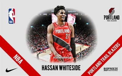 hassan whiteside, portland trail blazer, amerikanischer basketballspieler, nba, porträt, usa, basketball, moda center, portland trail blazer-logo