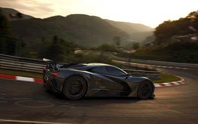 Elation Freedom, 2020, exterior, side view, black hypercar, american supercars, race track, Elation Hypercars