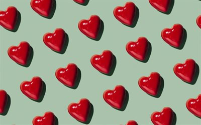 green background with red hearts, love background, red candy hearts, retro love background