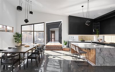 modern style of kitchen interior, dining room, black furniture in the kitchen, loft style, stylish interior, modern design, kitchen, black lamps