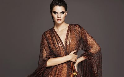 Kendall Jenner, american fashion model, portrait, beautiful brown dress, american supermodel