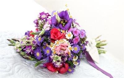 wedding bouquet, eustoma, roses, chrysanthemums, bridal bouquet