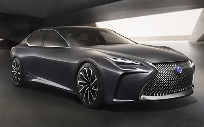 Lexus LS Concept, sedans, 2017 cars, supercars, luxury cars, gray lexus