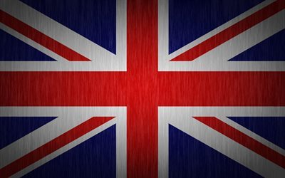 British flag, 4k, lines texture, Union Jack, flags, UK flag