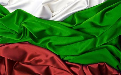 Bulgarian flag, 4k, silk, flag of Bulgaria, flags, Bulgaria flag