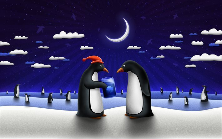 New Year, penguins, winter, moon, santa hat