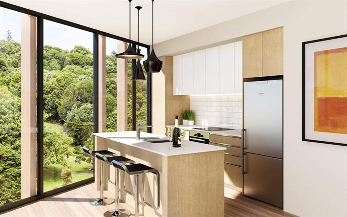 Descargar fondos de pantalla interior moderno, cocina, ventanas ...