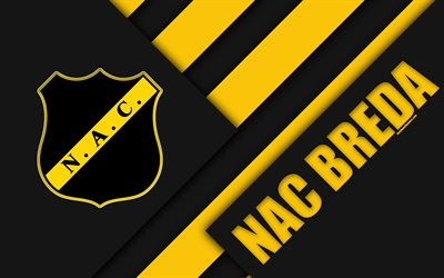 NAC Breda, emblem, 4k, material design, Dutch football club, black and yellow abstraction, Eredivisie, Breda, Netherlands, football