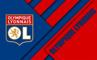 Olympique Lyonnais, French football club, Lyon, France, blue red abstraction, material design, geometric background, league 1, football, 4k