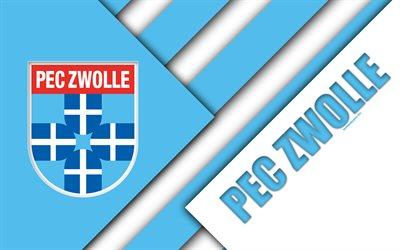 PEC Zwolle FC, blue white abstraction, emblem, 4k, material design, Dutch football club, Eredivisie, Zwolle, Netherlands, football