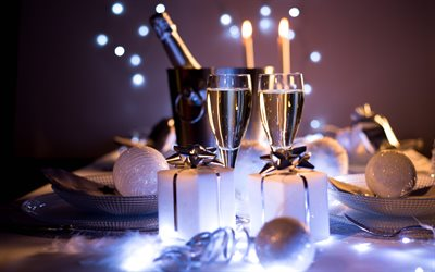 Happy New Year, 2018, champagne, evening, white lights, Christmas