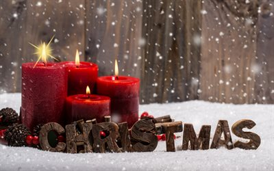 Christmas, red burning candles, New Year, winter, snow, decoration, Merry Christmas